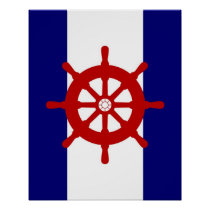Red Ships Wheel navy & white stripes print poster