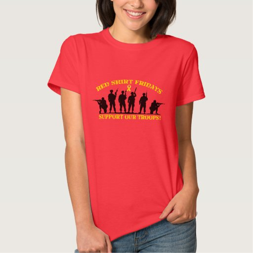 Red shirt fridays support our troops zazzle for Red support our troops shirts