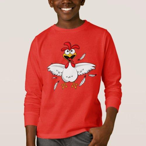 Red Shirt Funny Crazy Cartoon Chicken