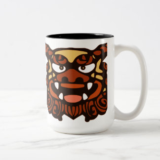 Red Shisa Pair Two-Tone Coffee Mug