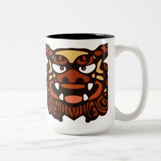 Red Shisa Pair Two-Tone Coffee Mug