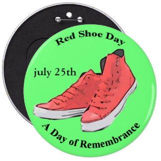 Red Shoe Day Button Lyme Awareness