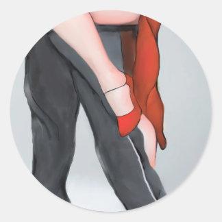 Red Shoe Tango Round Stickers