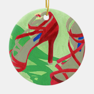 Red Shoes Ceramic Ornament