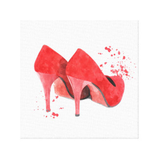 Red shoes fashion trendy glamour mode stylish canvas print