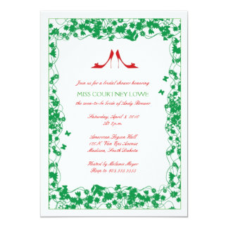 "Red Shoes Green Flowers Bridal Shower Invitation 5"" X 7"" Invitation Card"