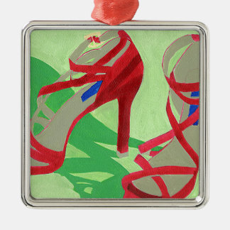 Red Shoes Metal Ornament