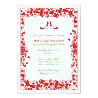 "Red Shoes Red Flowers Bridal Shower Invitation 5"" X 7"" Invitation Card"