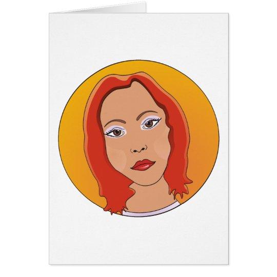 Red Short Hair Woman Card