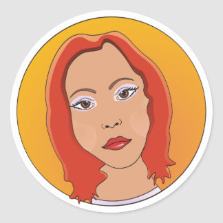 Red Short Hair Woman Classic Round Sticker