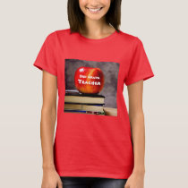 Red Short Sleeve Teacher with Books T-Shirt