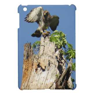 Red Shouldered Hawk Atop Vine Covered Stump iPad Mini Cover
