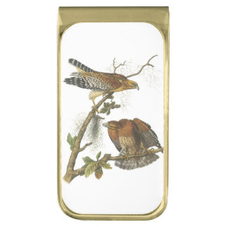 Red-shouldered Hawk by Audubon Gold Finish Money Clip