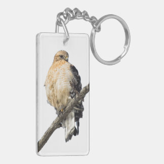 Red Shouldered Hawk Double-Sided Rectangular Acrylic Keychain
