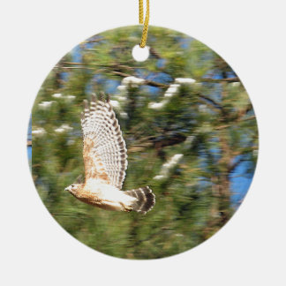 Red Shouldered Hawk in Flight Photography Design Ceramic Ornament