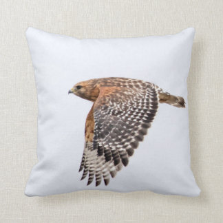 Red Shouldered Hawk in flight Throw Pillows