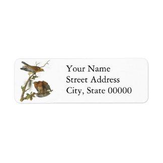 Red-shouldered Hawk, John Audubon Return Address Label