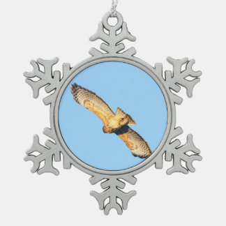 Red-shouldered Hawk Snowflake Pewter Christmas Ornament