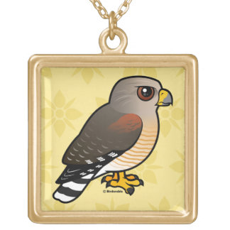 Red-shouldered Hawk Square Pendant Necklace