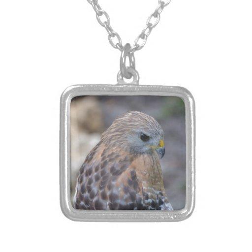 Red Shouldered Hawk Square Pendant Necklace