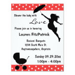 """Red Shower The Baby With Love Invitation 4.25"""" X 5.5"""" Invitation Card"""
