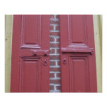 Red shutters with yellow trim poster