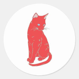 Red Siamese Cat Classic Round Sticker