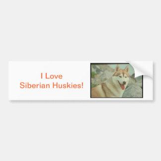 Red Siberian Husky Bumper Sticker