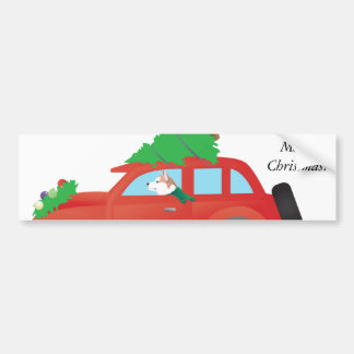 Red Siberian Husky Driving Car with Christmas Tree Bumper Sticker