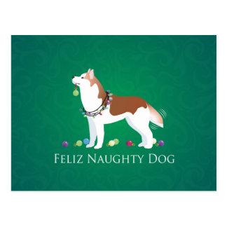 Red Siberian Husky Feliz Naughty Dog Christmas Postcard