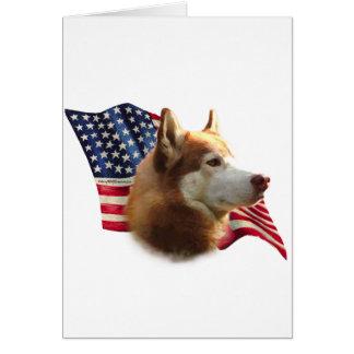 Red Siberian Husky Flag Card