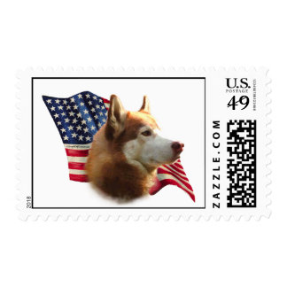 Red Siberian Husky Flag - Postage