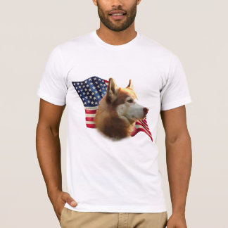 Red Siberian Husky Flag T-Shirt