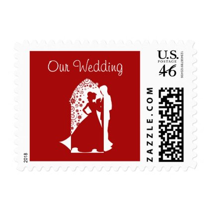 Red Silhouette Wedding Postage Stamp