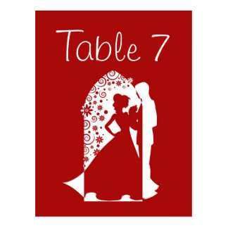 Red Silhouette Wedding Table Numbers Postcard