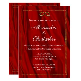 Red Silk and Gold Wedding Invitation