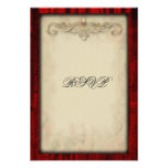 Red Silk and Parchment Goth RSVP Personalized Invite