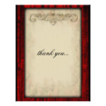 Red Silk and Parchment Goth Thank You Custom Invites
