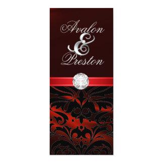 "Red Silk Diamond Black Damask Wedding Invitation 4"" X 9.25"" Invitation Card"