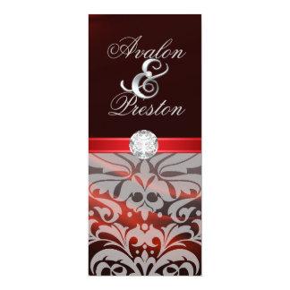 "Red Silk Diamond Damask Wedding Invitation 4"" X 9.25"" Invitation Card"