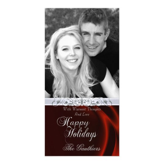 Red Silk Happy Holiday Silver Photo Card