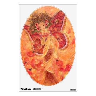 Red Silk Moth Indian Fairy Fantasy Art Wall Decal