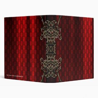 Red Silk Print Faux Gold Gothic Vampire Binder