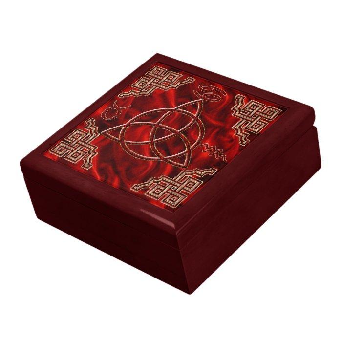 Red Silk Triquetra Jewelry Box