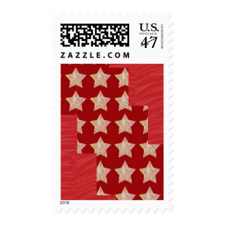 RED SILKEN FABRIC PRINT N Sparkle star pattern LOV Postage