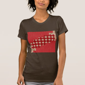 Red silky pattern ACROSS STEP GRAPHIC ART MULTI IM Tee Shirts