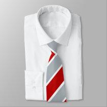 Red Silver and White Regimental Stripe Tie
