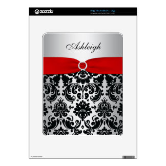 red Silver Black Damask iPad 1 Skin Decal For The iPad
