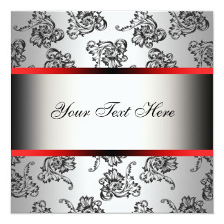 Red Silver Black Damask Party Invitation Template