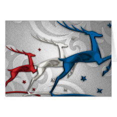 Red Silver Blue Reindeer Holiday Card at Zazzle